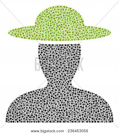 Farmer Person Mosaic Of Round Dots In Variable Sizes And Color Tints. Circle Dots Are Organized Into