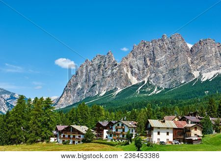 Cortina D'Ampezzo with Pomagagnon mount at Dolomites in Italy, South Tyrol.
