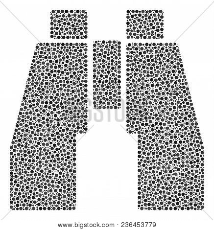 Find Binoculars Mosaic Of Round Dots In Various Sizes And Color Shades. Dots Are Composed Into Find