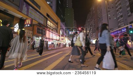 North Point, Hong Kong, 16 March 2018:-People crossing the road at night