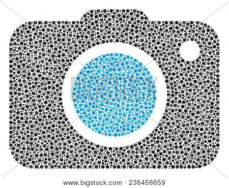 Photo Camera Composition Of Dots In Various Sizes And Color Tinges. Dots Are Grouped Into Photo Came