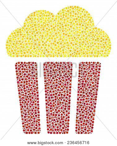 Popcorn Bucket Mosaic Of Circle Dots In Various Sizes And Color Hues. Small Circles Are Combined Int