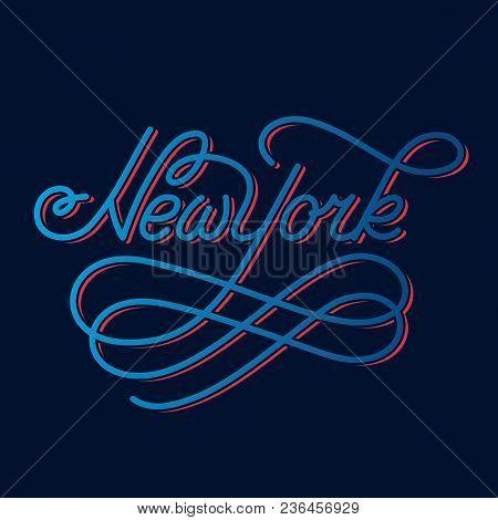 New York. Hand Written City Name. Typography Design. Modern Calligraphy. Vector Illustration Isolate