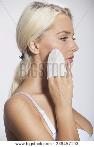 Woman Clean Face With Wet Wipes