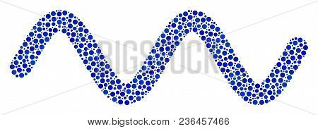 Sinusoid Wave Composition Of Small Circles In Variable Sizes And Color Shades. Circle Elements Are O