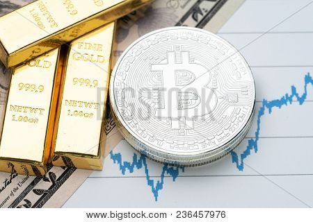 Commodity And Alternative Asset, Gold Bar And Crypto Currency Bitcoin On Rising Price Graph As Finan
