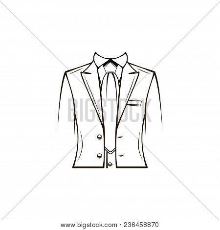 Dress Coat, Suit, Necktie, Tuxedo. Groom Wedding Clothes Dinner Jacket Vector Illustration