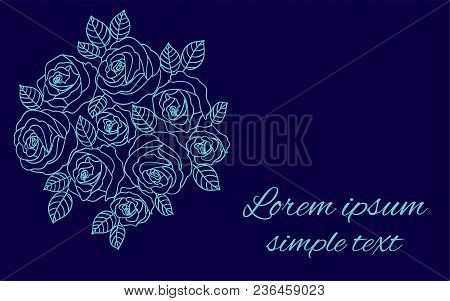 Floral Vector Design With Pale Blue Outline Roses Wreath On The Navy Blue Background For Greeting Ca