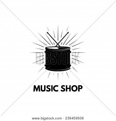 Drum Icon. Music Shop Logo Label. Musical Instrument, Drumming. Vector Illustration