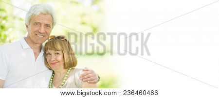 Happy senior couple in love embracing in park, white copy space