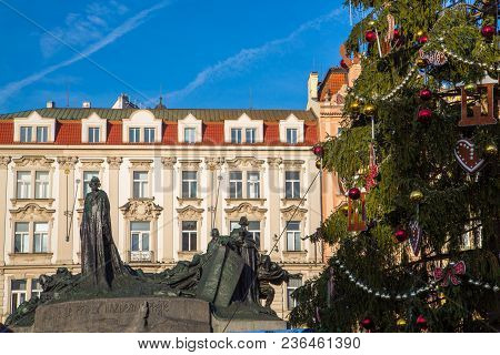 Old Town Square with Christmas market, tree and fairy tale Church of our Lady Tyn in the magical city of Prague at night, Czech Republic poster