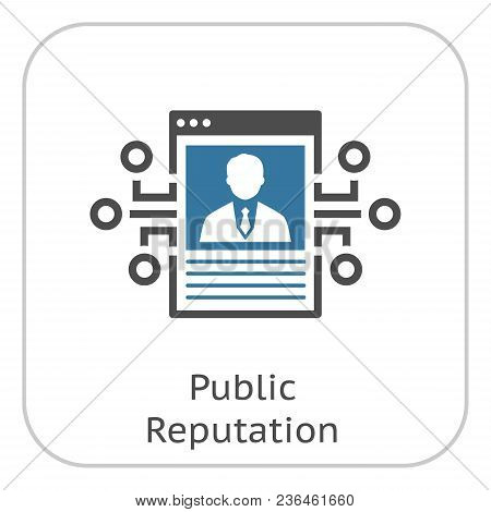 Public Reputation Icon. Modern Computer Technology Sign. Digital Graphic Symbol. Blockchain Technolo
