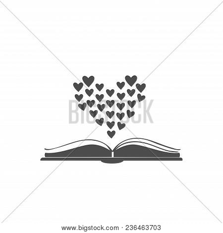 Open Book Icon With Hearts Shaped In Bigger Heart Above It. Flat Design. For Romance Books. Vector I