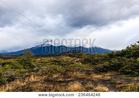 Dramatic Landscape Of Patagonian Mountains, Taken From The Beagle Channel On A Dramatic, Cloudy Day.