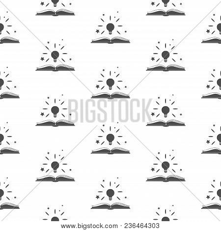 Seamless Pattern With Shining Above An Open Book.  Great For Wall Book Cover And Inside, Gift Paper,
