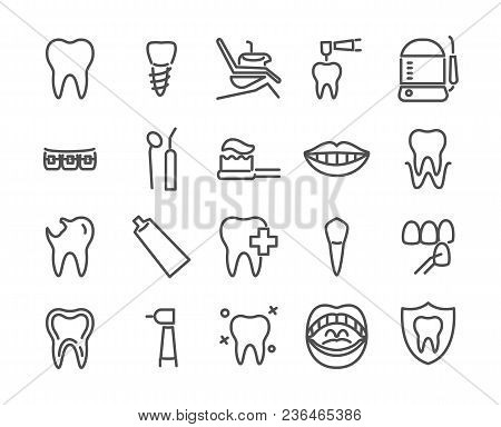 Dentist Icon Set Made In Line Style. Includes Such Icons As Healthy Tooth, Dental Implant, Oral Irri