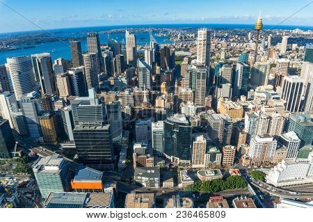 Aerial Cityscape Of Sydney Cbd, Downtown With Sydney Landmarks And Sydney Harbour. Urban Background