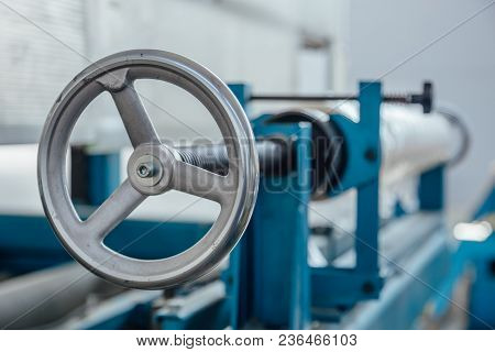 Industrial Valve Of Machine Tool. Close Up View.
