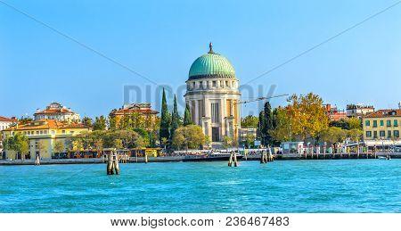 Grand Canal Tempio Votivo War Memorial Church Ferry Dock Restaurants Lido Venice Italy. Tempio Votiv