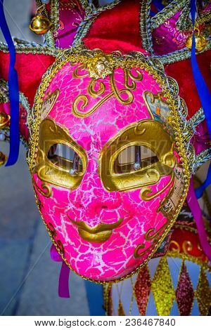 Pink Venetian Mask Venice Italy Used Since The 1200s For Carnival, Which Were Celebrated Just Before