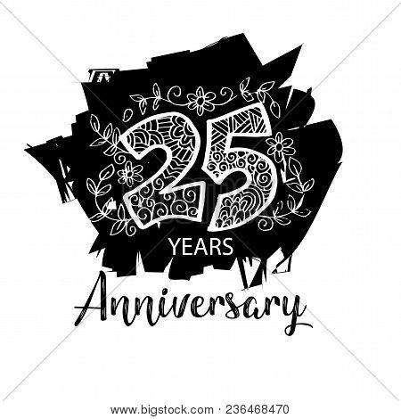 Twenty Fifth Years Anniversary.  Anniversary Decoration Template.