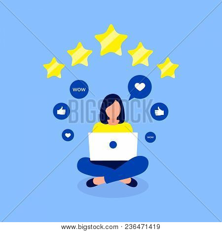 Rating, Feedback Design Concept. Girl Giving Five Star Rating. Trendy Flat Style. Vector Illustratio
