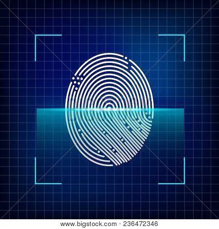 Finger Print Scanning System. Automated Fingerprint Identification. Biometric Authorization And Secu