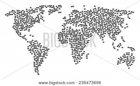 Earth Pattern Map Created Of Photo Camera Icons. Vector Photo Camera Scattered Flat Icons Are Combin