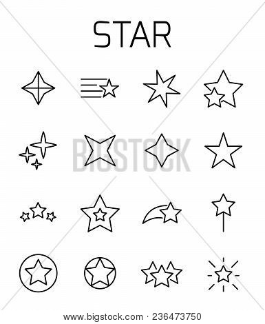 Star Related Vector Icon Set. Well-crafted Sign In Thin Line Style With Editable Stroke. Vector Symb