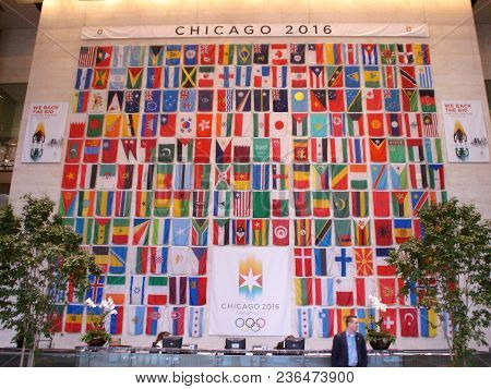 Chicago 2016 Candidate City Wall Of Flags Of The Member Countries In The Olympics, Sears Tower (now