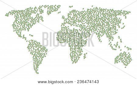 Continental Pattern Map Created Of Plant Tree Items. Vector Plant Tree Scatter Flat Pictograms Are C