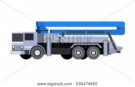 Minimalistic Icon Concrete Pump Truck Front Side View. Pump Truck Vehicle. Vector Isolated Illustrat