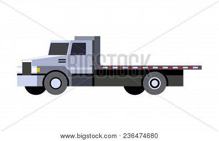 Minimalistic Icon Flatbed Truck Front Side View. Utility Service Vehicle. Vector Isolated Illustrati