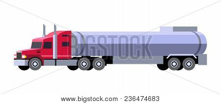 Minimalistic Icon Tanker Truck Front Side View. Semi Trailer Vehicle. Vector Isolated Illustration.