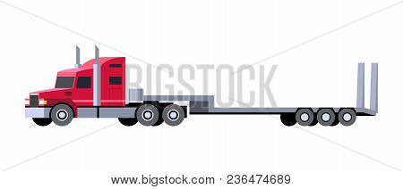Minimalistic Icon Lowboy Trailer Truck Front Side View. Semi Trailer Tractor Vehicle. Vector Isolate