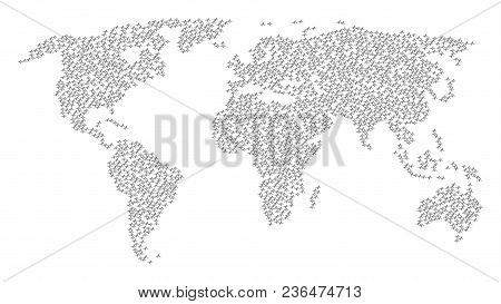 Global World Collage Map Made Of Pulse Icons. Vector Pulse Scatter Flat Icons Are United Into Mosaic