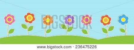 Vector Horizontal Background With Cute Flowers. Summer Or Spring Landscape For Childish Design