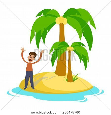 Sad Young Man On A Desert Island. Vector Illustration