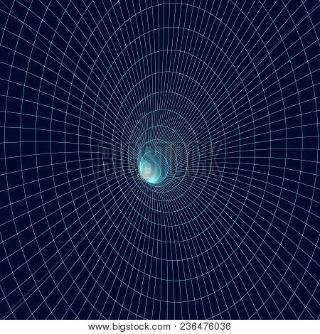 3d Tunnel Made Of Mesh. Abstract Vector Illustration