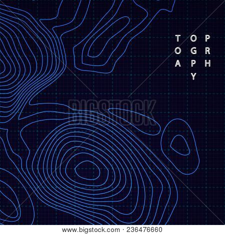 Vector Topographic Map With Luminous Blue Lines On Dark Background. Modern Design Element.