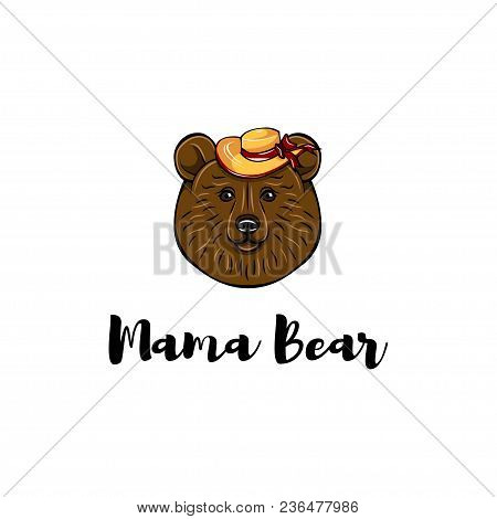 Mothers Day Card. Mama Bear. Wide-brimmed Hat. Cute Animal. Vector Illustration. Mom Gift Greeting C