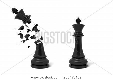 3d Rendering Of Two Isolated Black Chess Kings Stand Near Each Other With One Of Them Cracked And Br
