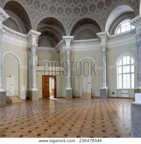 ST. PETERSBURG, RUSSIA - MARCH 30, 2018: Interior of the Rotunda of the Dutch reformed Church in the Center of art and music of Mayakovsky Central public library. It celebrates its 150th anniversary