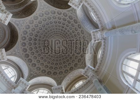 ST. PETERSBURG, RUSSIA - MARCH 30, 2018: Dome of the Rotunda of the Dutch reformed Church in the Center of art and music of Mayakovsky Central public library. It celebrates its 150th anniversary