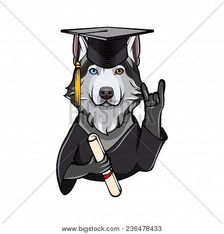 Siberian Husky Graduate. Rock Gesture, Horns. Graduation Cap Hat Diploma. Dog. Vector Illustration