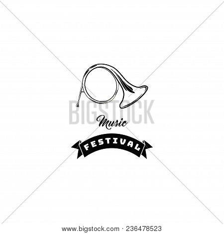 Horn Musical Instrument. Musical Festival Emblem Label Logo. Vector Illustration.