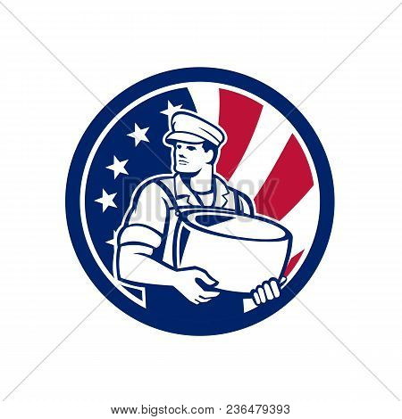 Icon retro style illustration of an American artisan cheesemaker or cheese maker holding Parmesan cheese with United States of America USA star spangled banner or stars and stripes flag in circle. poster