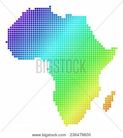 Spectrum Dotted Pixel Africa Map. Vector Geographic Map In Bright Colors On A White Background. Spec