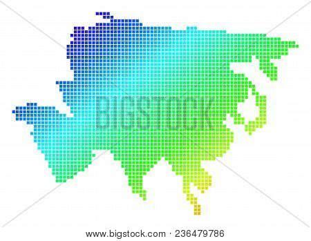 Spectrum Dotted Pixel Asia Map. Vector Geographic Map In Bright Colors On A White Background. Spectr