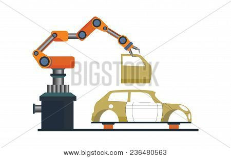Car Manufacturing Process With Smart Robotic Automotive Assembly Line, Factory Of Conveyor For Assem
